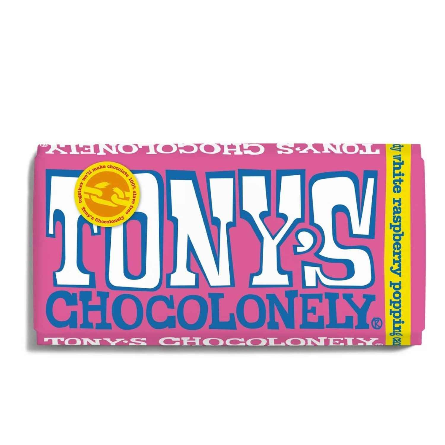 Tony's Chocolonely White Chocolate, Raspberry & Popping Candy Bar